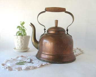 Vintage Tea Kettle / Copper and Brass / Portugal / Wood Handle / Goose Neck / 1 Quart / Country Farmhouse