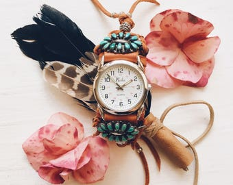 CWC-12, handmade adjustable cuff watch with repurposed zuni vintage sterling silver and petit point turquoise flower concho