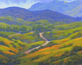 California Wildflowers Original Landscape Oil Painting, Spring Memories