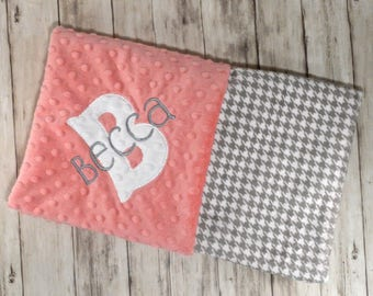 SALE Minky Baby Blanket - Monogram Coral Peach with Gray houndstooth - Personalized Custom Blanket with name,  Girl - Preppy check blanket