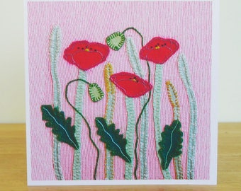 Poppy Meadow Greetings Card, Recycled Card, Art Card, Wild Flower Card