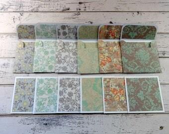 Mini Note Cards, Mini Note Card Set, 3x3 Note Cards, Mini Envelopes, Set of 6 Mini Note Cards with Envelopes, Mini Cards, Vintage Elegance