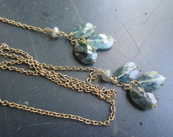 Lariat with Antique Watch Chain, Iolite and Labradorite, Lariat Necklace, Two Girls Gems
