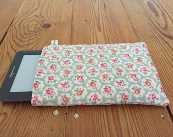 "Kindle 6"" or Paperwhite Cover Pouch Sleeve Cath Kidston Provence Rose Fabric in Antique Green"
