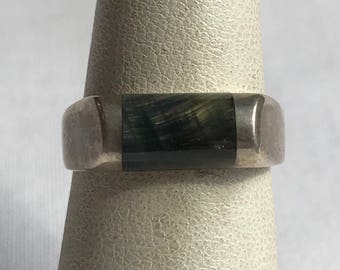 Sterling Silver Marbled Ring-Size 6