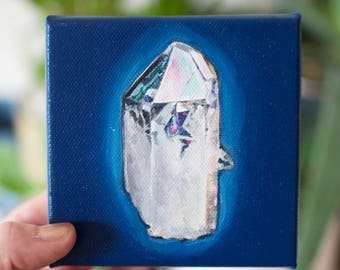 Glowing Crystal Oil Painting Original 4x4 inches