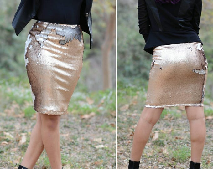Matte Rosegold/Gunmetal Flip Sequin Skirt - Stretchy, beautiful above knee pencil skirt (S,M,L,XL)  Ships asap! Runs bigger.