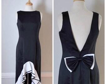 ON SALE 80s 90s Formal Black Dress