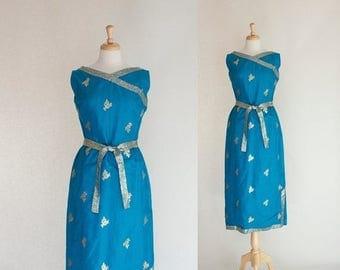 ON SALE 60s Silk Cheongsam Dress / 60s Asian Dress / 60s Bombshell Dress / Silk Shantung Dress / Chinese Dress / Gold and Turquoise Dress /