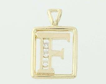 Letter F Pendant - 14k Yellow Gold Diamonds Initial Jewelry G0998