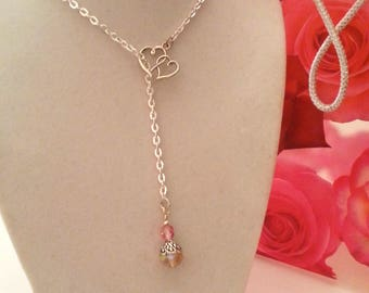 Lariat Necklace, Pink Rondelle Crystal Bead Droplet and Double Heart Charm, Silver Plated Flat Cable Chain with Toggle Clasp