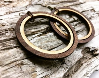 Double Ring Custom Made Lightweight Wood Hoop Earrings - Your Choice of Color Wooden Loop Earrings
