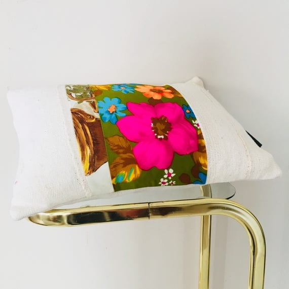 "Vintage Neon Pink Floral on Moss Green Pillow 13""x18"" Lumbar Cushion Cover Orange Blue Flower White Mudcloth"