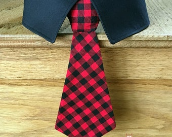 Red and Black Plaid Christmas Dog Tie, Christmas Dog Neck Tie, Christmas Dog Bow Tie, holiday Dog Tie,  Removable Dog Tie or Bow Tie