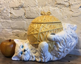 Vintage Ceramic Cookie Jar / Playful Kitty Cat with Ball of Yarn Signed W at VintageHeist Cookie Bowl with Lid