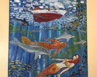Mermaids Swimming With Dolphins Under Sailboat