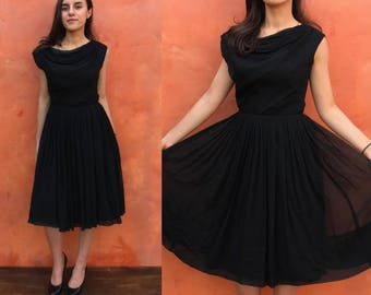 Vintage 1950s 1960s Black Party Swing Fit Flare Cocktail Dress pinup rockabilly. little black dress. Fit Flare Dress black dress. Elinor Gay