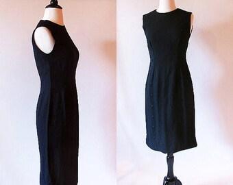 1/2 Off SALE Vintage 60s Little black dress, Sleeveless Sheath Dress, Audrey Hepburn Dress