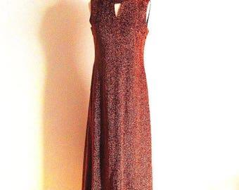 1/2 Off SALE Vintage Copper Gown, 70s Metallic Dress, Keyhole Neckline Dress
