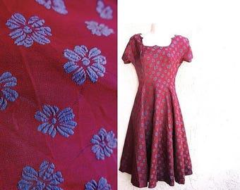 1/2 Off SALE Vintage 50s Bias Cut, Metal Zipper Short Dress, Rockabilly Circle Skirt XSmall Vintage Princess Style Dance Attire