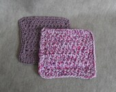 Crochet Cotton Hand Wash Cloths: pink & purples (set of 2)