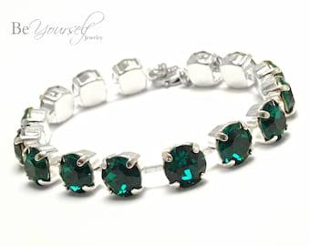 Emerald Bridal Bracelet Green Bride Bracelet Swarovski Crystal Dark Green Tennis Bracelet Emerald Bridesmaid Gift Wedding Bridal Jewelry