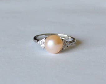 Peach fresh water pearl ring, Cubic Zirconia ring, Real peach champagne pearl ring, birthday, Mother's gift, Engagement, Christmas