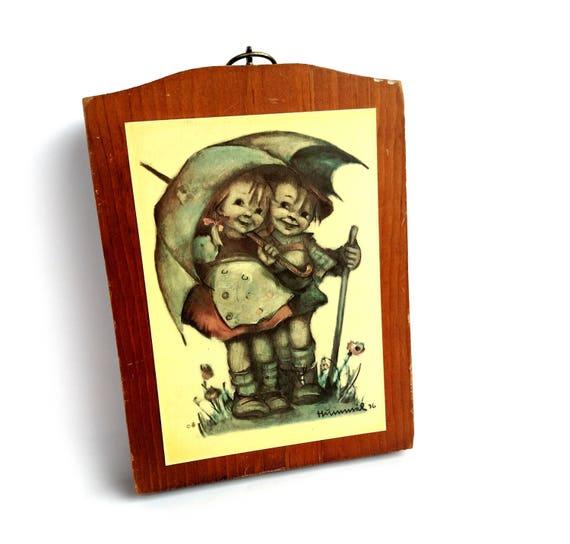 Vintage 1936 Hummel Illustration of Kid Couple Under Umbrella Mounted On Wood