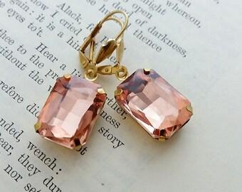 Light Peach Brass Earrings. Square Faceted Brass Earrings. Octagon Brass Earrings. Leverback Earrings. Boho Earrings. Bohemian Jewelry