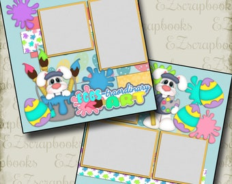 EGGS-traordinary ART - 2 Premade Scrapbook Pages - EZ Layout 995