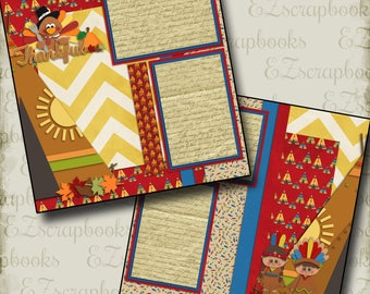 THANKSGIVING - 2 Premade Scrapbook Pages - EZ Layout 857