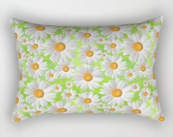 Daisy Lumbar Pillow, Rectangular, White Green Yellow Grey, Bedding, Cushion, Toss, Modern, Nature Bright, Colorful, flower, garden, bloom