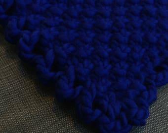 Newborn Photo Prop, Baby Blanket, Deep Blue Super Bulky Baby Blanket, Photo Prop, 100% Wool, Luxury Yarn, Plush, Squishy
