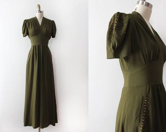 vintage 1930s dress // 30s STUDDED forest green evening gown