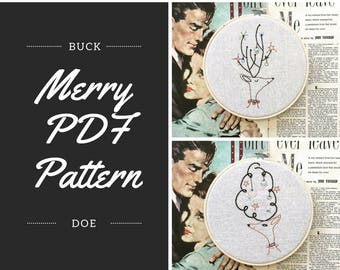 embroidery pattern // Merry Buck & Doe embroidery pattern - instant digital download