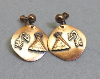 Copper Native American Screw Back Style Earrings, Vintage Dangles