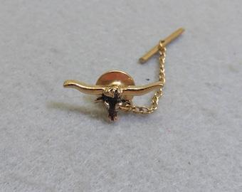 Longhorn Steer  Tie Tack, Cow Tack Pin, Gold Longhorn Steer Lapel Pin