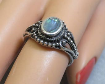1970s Fancy Little Abalone and Sterling Ring, Size 5.50