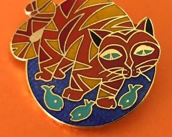 Alaskan Artist Barbara Lavallee Collectable Enamel Pin of a Cat Chasing Fish