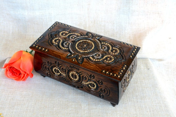Jewelry box Wooden jewelry box Jewelry box wood Wedding jewelry box Jewelry ring box Jewelry wooden box Jewelry wood box Wooden box dark B38