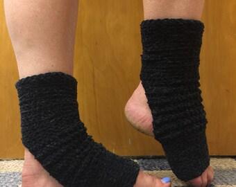 Yoga Socks in Acrylic Chenille in Black -- for Yoga, Dance, Pilates, Pedicures