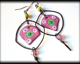 Eclectic Earrings, Orchid Green, Dangle, Summer, OOAKh