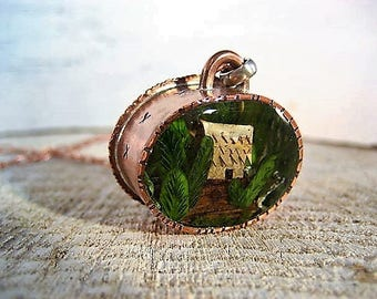 Tiny Resin Terrarium Necklace with stamped copper bezel and tiny birch bark house