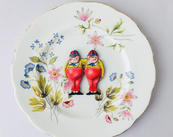 Tweedle Dee and Dum Alice in Wonderland Bone China with Blue Pink Green Flowers on White Display 3D Plate Collage Sculpture for Wall Decor