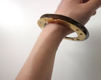 Set of Two Disc Bangles, Geometric Bangles, Brass Bangles, Black Platinum Bangle,Gold Plated Bangle, Contemporary Jewelry