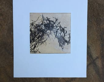 Art Print .  Intaglio. Abstract Etching Print. Sepia brown and white:You Turn The Screws 3. unframed