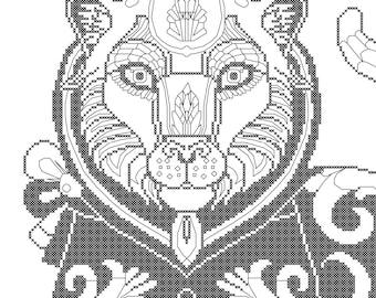 Amazing tiger cross stitch pattern/tiger cross stitch chart/color your own cross stitch pattern/Licensed Artwork@SilverBeetleArt/Digital PDF