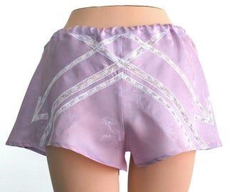 ON SALE Panties Shorts Lace Lingerie/ Amethyst White Arrow Vintage Jacquard / Medium - VIOLETTE Garçonne Tap Shorts Ready-to-Ship Ooak