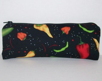 "Pipe Pouch, Peppers, Pipe Case, Pipe Bag, Glass Pipes, Pipe Cozy, Padded Pipe Pouch, 420, Weed Bag, Zipper Bag, Smoke Accessory - 7.5"" LARGE"