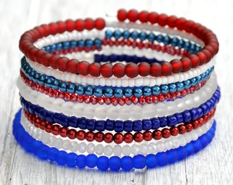 Red, White & Blue Layered Boho Wrap Bracelet